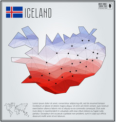 Polygonal map iceland with gradient inside vector