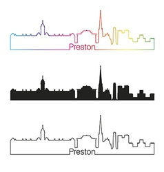 Preston skyline linear style with rainbow vector image