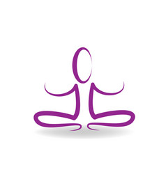 purple yoga meditating people isolated vector image