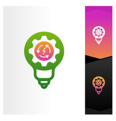 recycle with bulb and gear logo concept template vector image