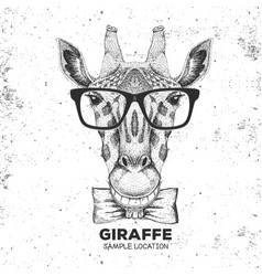 Retro hipster animal giraffe hand drawing muzzle vector