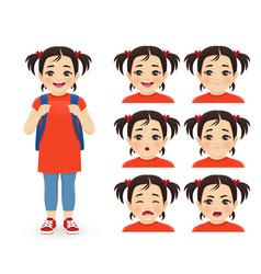 school asian girl emotions vector image