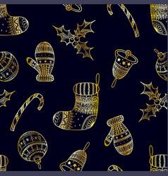 seamless pattern of golden christmas symbols vector image