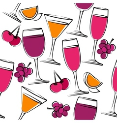 seamless pattern with wine vector image