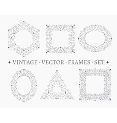 set elegant ornate floral design templates vector image