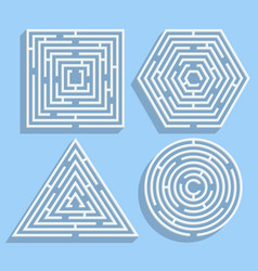 set mazes in form a square circle vector image