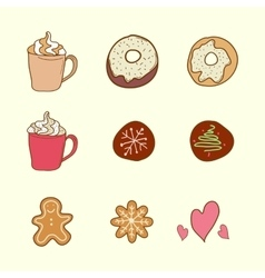 Set of coffee cookies and cakes vector image