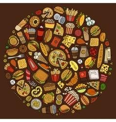Set of Fast food cartoon doodle objects symbols vector