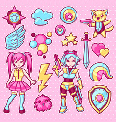 Set of japanese anime cosplay objects cute kawaii vector
