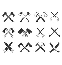set of the crossed carpenter tools design vector image