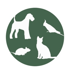 Silhouettes of of pets in a round frame vector