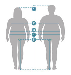 Silhouettes of overweight man and women vector