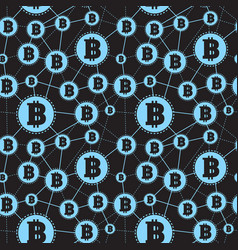 simple seamless pattern blue symbols bitcoins vector image