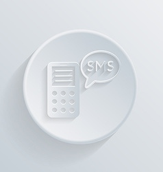 Smartphone circle icon with cloud of sms dialogue vector