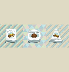 three colored labels with eclair vector image