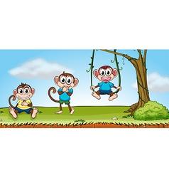 Three smiling monkeys vector image