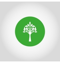 Tree on a green button vector image