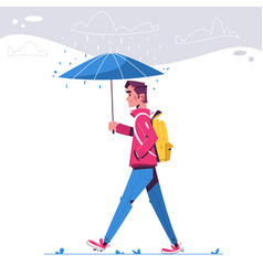 walk in rainy day flat vector image