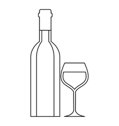 Wine bottle and wine glass icon outline style vector image