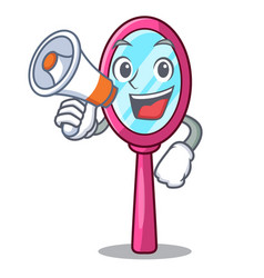 with megaphone mirror in the cartoon shape funny vector image