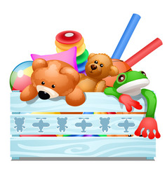 Wooden crate with soft plush toys isolated on vector