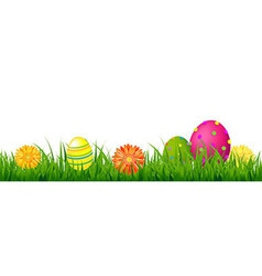 Happy Easter Border With Grass And Eggs vector image vector image