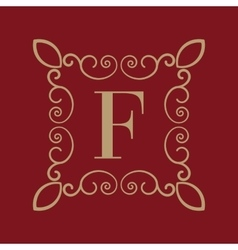Monogram letter F Calligraphic ornament Gold vector image vector image