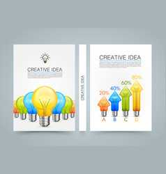 creative idea banner lamp arrow up a4 size paper vector image