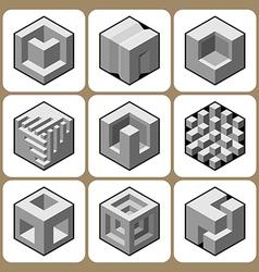 cube icon set 5 vector image vector image