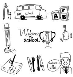 Doodle of school object bus pen teacher vector image