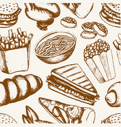 fast food - one color hand drawn seamless pattern vector image vector image