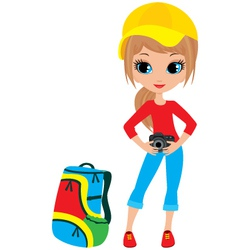 pretty girl with camera vector image vector image