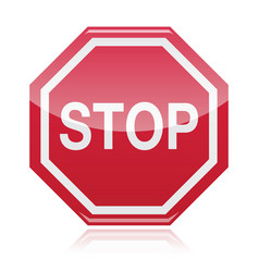 Stop warning road sign vector image vector image