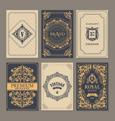 calligraphic vintage floral cards collection vector image