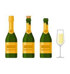 champagne bottles set on white background vector image vector image