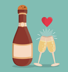 Color background with champagne bottle and vector