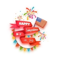 Happy independence day banner Red ribbon with vector image vector image
