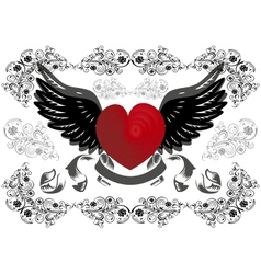 Heart with wings and background vector image vector image