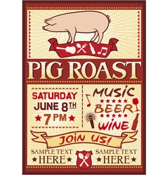 pig roast poster vector image vector image