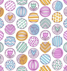 Abstract colorful circles doodle pattern vector image
