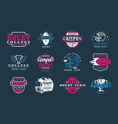 Badges set of campus rugby team vector image vector image