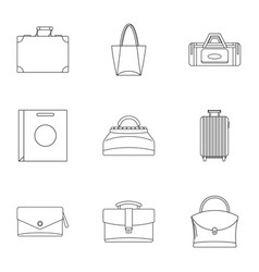 bag types icon set outline style vector image