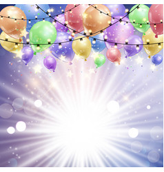 balloons on a starburst background vector image