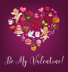 Be my valentine love message quote in flower heart vector