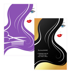 Beautiful girl business card for beauty salon vector