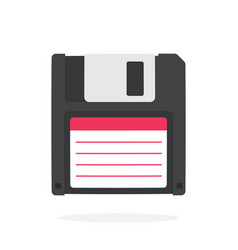 Black magnetic computer floppy disk in flat style vector
