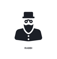 Black rabbi isolated icon simple element from vector
