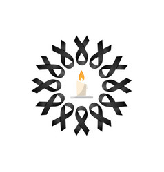 Black ribbon wreath with candle vector