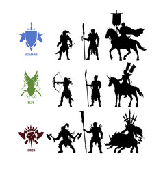 Black silhouettes games characters vector