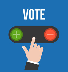Business man hand choose to push button vote vector